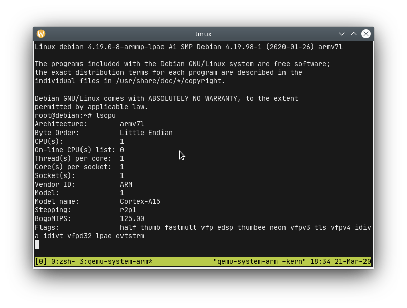 amv7l Cortex-A15 virtual linux